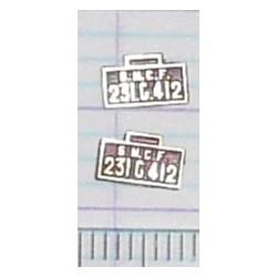 LBT-231-G-412 Lot de 2 plaques 231 G 412 peintes en laiton