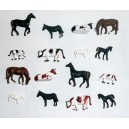 Lot de 16 animaux (vaches chevaux mouton) HO