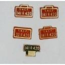 5 plaques 141R420 et 30R420 et face avant peintes en laiton