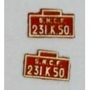 2 plaques 231K50 peintes en laiton