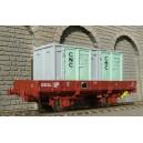LSM 30265 Wagon OCEM 19 avec 2 conteneurs CNC SNCF LS models HO