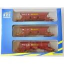 REE - 3 Wagons Tremie EX T1  - ep IV - SIMOTRA - WB-122.1 - echelle HO 1/87