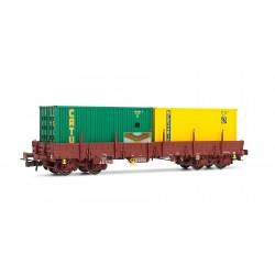 """Jouef HJ6118 - Wagon plat REMMS 2 conteneurs """"CATU"""" et """"Merzario"""" - HO"""