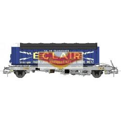 "REE modeles WB-335 - Wagon KANGOUROU Ep.III + Remorque ""ECLAIR"" bâche double axle - HO"